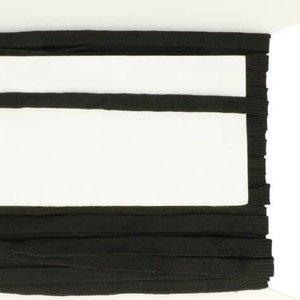zwart veterband oftewel plat koord 9 mm breed, dubbeldik