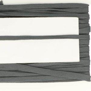 grijs veterband oftewel plat koord 9 mm breed, dubbeldik