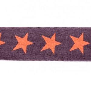 taille-elastiek 4 cm breed: sterren zalm-oranje op taupe-grijs /HALVE METER