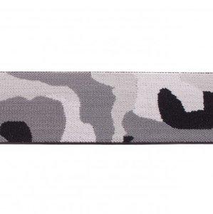 taille-elastiek 4 cm breed: legerprint grijs /HALVE METER