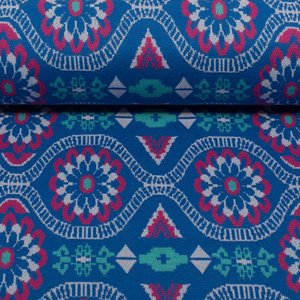 Tricot Daisy Chain by jolijou *Swafing exclusive*, Jacquard-Jersey blauw
