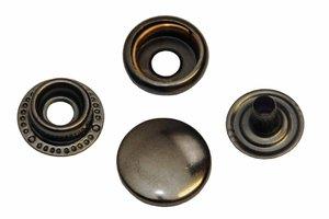 10 metalen drukkers oud zilver 15 mm