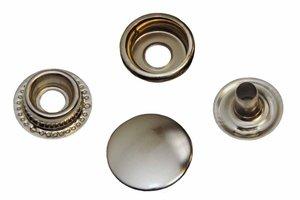 10 metalen drukkers zilverkleurig 15 mm