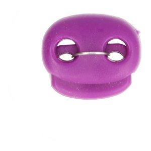 koordstopper met twee gaten voor koord tot maximaal 5 mm, paars