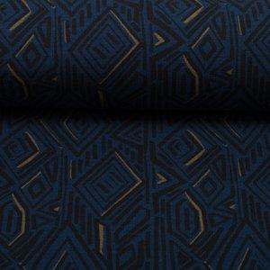 Imperial Mess by Joliyou: french terry met grafische print in onkerblauw/zwart/donker oker