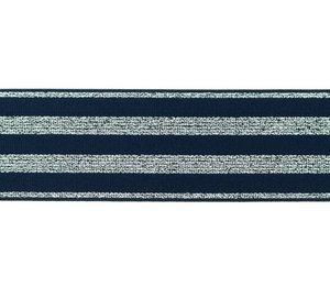 elastiek 4 cm breed:strepen lurex op donkerblauw/ HALVE METER