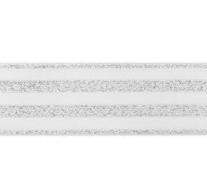 elastiek 4 cm breed:strepen lurex op wit/ HALVE METER