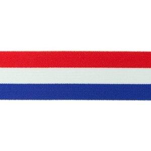 taille-elastiek 4 cm breed: rood-wit-blauw /HALVE METER