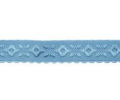 oud blauw omvouwelastiek met geweven figuurtje aan één kant en een klein schulprandje op de vouw