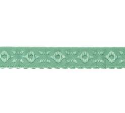 oud groen omvouwelastiek met geweven figuurtje aan één kant en een klein schulprandje op de vouw