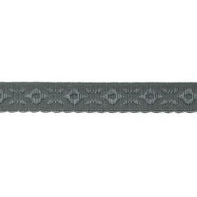 donker grijs omvouwelastiek met geweven figuurtje aan één kant en een klein schulprandje op de vouw