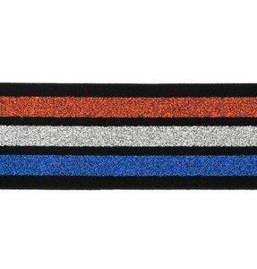taille-elastiek 4 cm breed:strepen lurex rood wit blauw op zwart/ HALVE METER