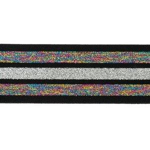 taille-elastiek 4 cm breed:strepen lurex regenboogkleuren en zilver op zwart/ HALVE METER