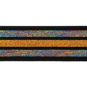taille-elastiek 4 cm breed:strepen lurex regenboogkleuren en oranje/goud op zwart/ HALVE METER