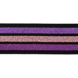 taille-elastiek 4 cm breed:strepen lurex paars en roze op zwart/ HALVE METER