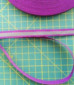 1 cm breed ribsband met reflecterende streep op paars