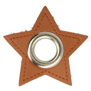 zilverkleurige nestels op ster van bruin nepleer: gat diameter 11 mm
