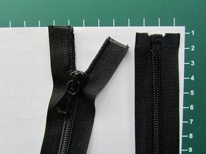 Deelbare rits met automatische runner, zwart, 75 cm