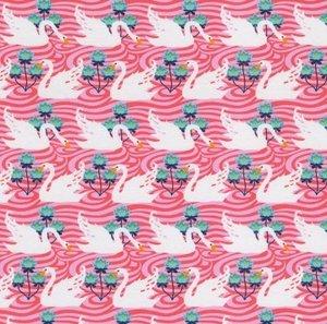 Flora: tricot witte zwanen op roze naar een ontwerp van Jolijou