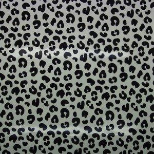 Rainy day: regenjassenstof helder transparant met zwarte luipaardprint