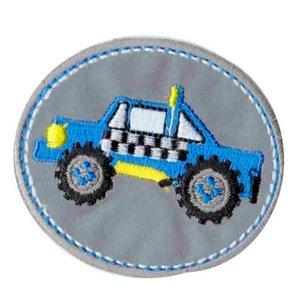 opstrijkbare applicatie:reflecterende button met blauwe SUV
