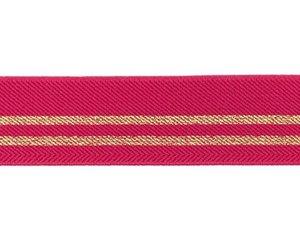 taille-elastiek 3 cm breed: fuchsia met twee gouden lurex strepen / HALVE METER
