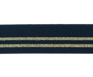 taille-elastiek 3 cm breed: donkerblauw met twee gouden lurex strepen / HALVE METER