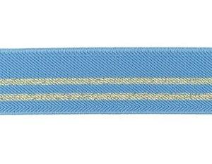 taille-elastiek 3 cm breed: hemelsblauw met twee gouden lurex strepen / HALVE METER