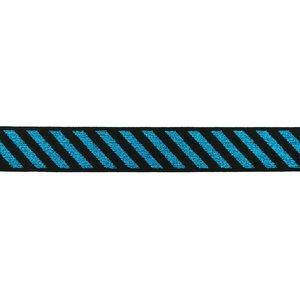 elastiek 2,5 cm breed: schuine streep lurex turquoise op zwart / HALVE METER