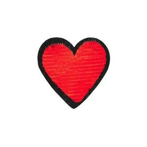 applicatie met wrijfpailletjes: hart 10 x 10 cm rood of wit