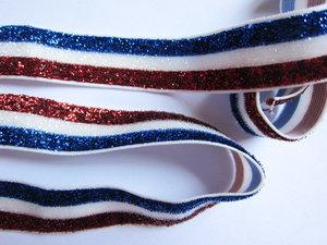 glitterelastiek rood/wit/blauw 1,6 cm breed