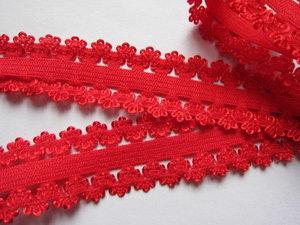 sierelastiek met schulprand aan beide kanten, rood