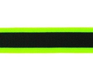 gebreid band 2,5 cm breed: zwart met neonlichtgroen