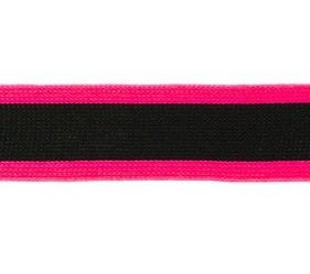 gebreid band 2,5 cm breed: zwart met neonfuchsia