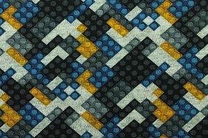 Tricot met de bekende bouwsteentjes zwart/grijs/blauw/geel