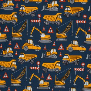 Mattes, gele hijskraan, kiepauto, wals enz op donkerblauwe tricot