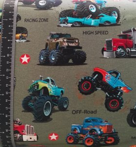 Monstertrucks op legergroene tricot