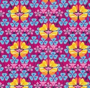 Flora: tricot met gele vlinders op cyclaam naar een ontwerp van Jolijou