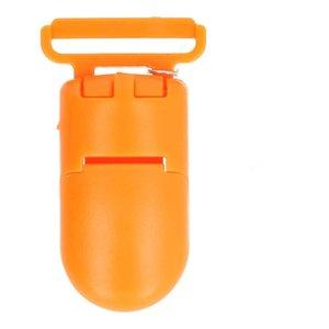 bretelclip, kunststof speenkoordclip oranje
