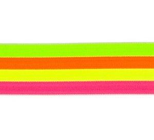 taille-elastiek 4 cm breed: strepen in neonkleren/HALVE METER