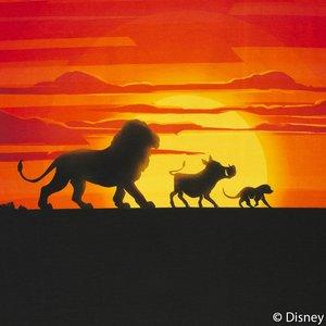 Lion King panel  60 bij 50 cm. Mufasa, Pumbaa en Simba met ondergaande zon