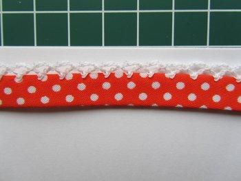 biaisband oranje met witte stip en wit randje