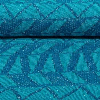 Ponte: gebreide stof met glitters in grafisch design: Petrol/smaragd/zilver