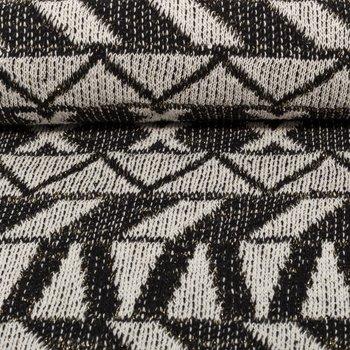 Ponte: gebreide stof met glitters in grafisch design: zwart/ gebroken wit/zilver