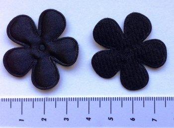 35mm bloem zwart satijn
