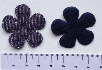 35mm bloem spijkerstof donkerblauw