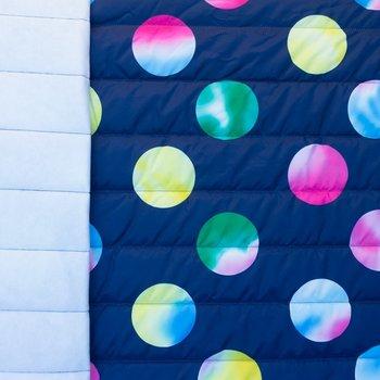 Doorgestikte jassenstof donkerblauw met tye-dye gekleurde ballen