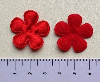 25mm bloem, rood satijn met randje