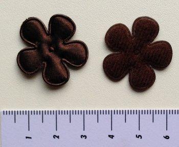25mm bloem, donkerbruin satijn met randje