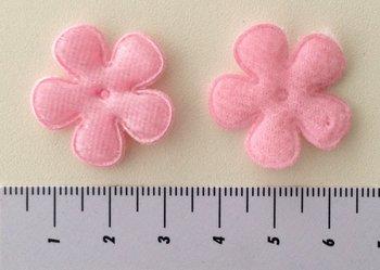 28mm bloemetje fluweel zalmroze